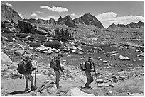 Hiking on trail, Dusy Basin. Kings Canyon National Park, California (black and white)