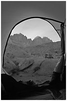 Palissades from tent door, Dusy Basin. Kings Canyon National Park, California (black and white)