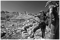 Hikers pointing, Dusy Basin. Kings Canyon National Park, California (black and white)