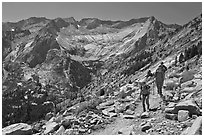 Hikers on trail above Le Conte Canyon. Kings Canyon National Park, California (black and white)