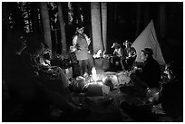 Dinner around night campfire, Le Conte Canyon. Kings Canyon National Park, California (black and white)
