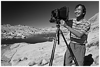 [photo by Buddy Squires] Large format photographer with camera, Dusy Basin. Kings Canyon National Park, California (black and white)