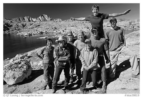 Hiking group posing in Dusy basin. Kings Canyon National Park, California