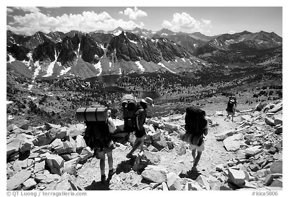 Backpackers below Kearsarge Pass. Kings Canyon National Park, California