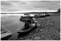 Putting up the canoe in Ambler. Kobuk Valley National Park, Alaska (black and white)