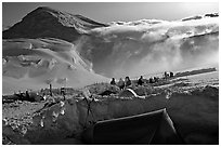 The first important camp, where people gather at a same spot, is found at 11000. Denali, Alaska (black and white)
