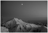 Midnight sunset over Mt Foraker from the West Rib. Denali, Alaska (black and white)