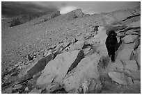 Hiking down Mt Whitney in cold conditions. Sequoia National Park, California (black and white)