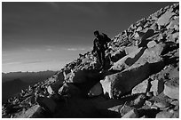Descending Mt Whitney trail near sunset. Sequoia National Park, California (black and white)
