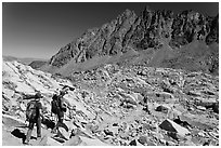Hikers below Bishop Pass, John Muir Wilderness. Kings Canyon National Park, California (black and white)