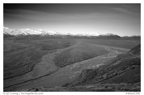 Wide valley with braided rivers and Alaska Range at sunrise from Polychrome Pass. Denali National Park (black and white)