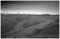 Wide valley with braided rivers and Alaska Range at sunrise from Polychrome Pass. Denali National Park, Alaska, USA. (black and white)