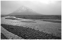 Gravel bars of the Toklat River. Denali National Park, Alaska, USA. (black and white)