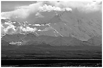 Mt Mc Kinley in the clouds from Wonder Lake area. Denali National Park, Alaska, USA. (black and white)