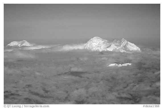 Mt Foraker and Mt Mc Kinley emerge from a sea of clouds. Denali National Park (black and white)