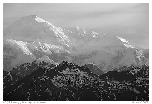 Mt Mc Kinley at sunrise from Denali State Park. Denali National Park (black and white)