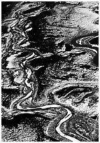 Frozen braided rivers. Denali National Park, Alaska, USA. (black and white)