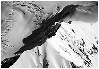 Mountain ridge and glacier. Denali National Park, Alaska, USA. (black and white)