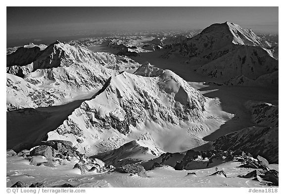 Kahilna peaks and Mt Foraker seen from 16000ft on Mt Mc Kinley. Denali National Park (black and white)