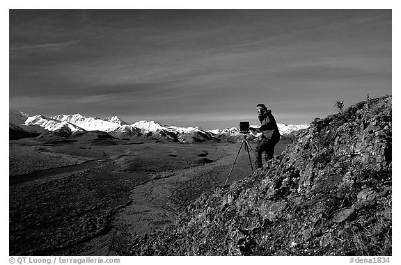 Photographer at Polychrome Pass. Denali National Park (black and white)