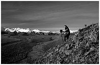 Photographer at Polychrome Pass. Denali National Park, Alaska, USA. (black and white)
