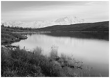 Wonder Lake and Mt McKinley at dusk. Denali National Park, Alaska, USA. (black and white)