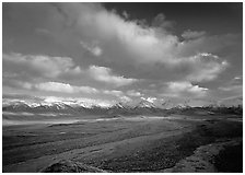 Wide braided rivers, Alaska Range, and clouds, late afternoon. Denali National Park ( black and white)