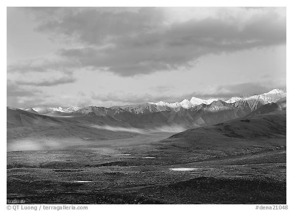 Tarn lakes, tundra, and snowy mountains of Alaska Range with patches of light. Denali  National Park (black and white)