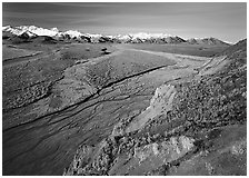 Braided river and Alaska Range from Polychrome Pass. Denali National Park, Alaska, USA. (black and white)