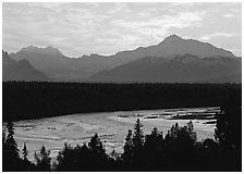 Mt Mc Kinley and Chulitna River at sunset. Denali National Park, Alaska, USA. (black and white)