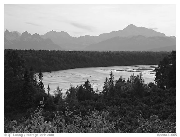 Mt Mc Kinley and Chulitna River at sunset from  Denali State Park. Denali  National Park (black and white)
