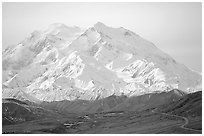 North Face of Mt McKinley above Thorofare Pass. Denali National Park, Alaska, USA. (black and white)