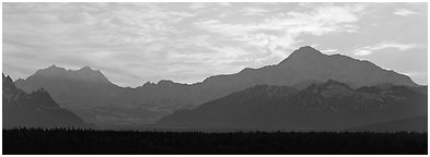 Alaska range and sunset sky. Denali  National Park (Panoramic black and white)