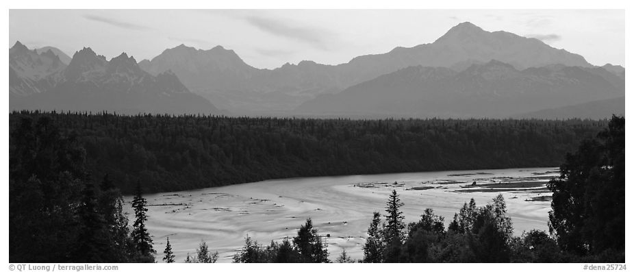 Wide river and Alaska range at sunset. Denali National Park (black and white)