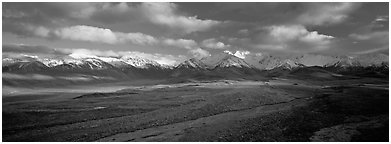 Mountain landscape with clouds. Denali  National Park (Panoramic black and white)