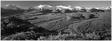 Passing of seasons in Alaska mountains. Denali National Park (Panoramic black and white)