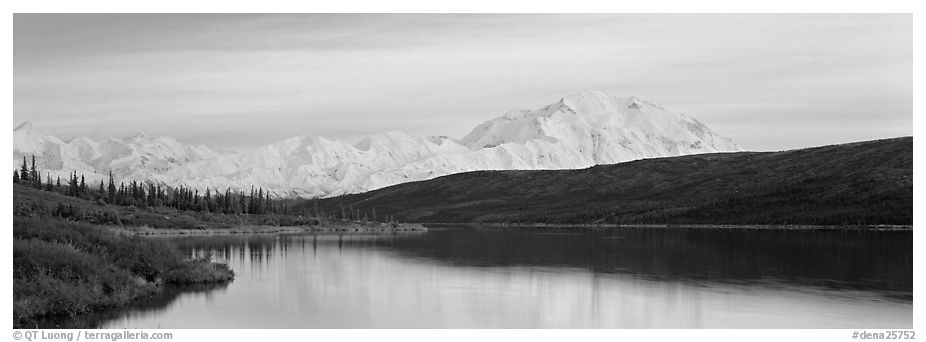 Pastel landscape with Mount McKinley reflected in lake. Denali National Park (black and white)
