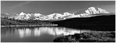 Tranquil autumn evening with Mount McKinley reflections. Denali  National Park (Panoramic black and white)