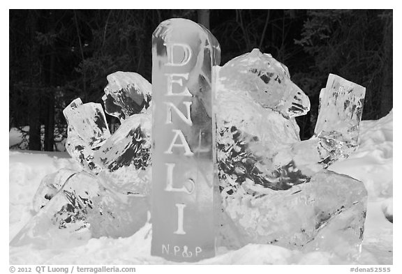 Ice sculpture with woman and bear. Denali National Park (black and white)