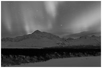 Northern lights above Mt McKinley. Denali National Park ( black and white)