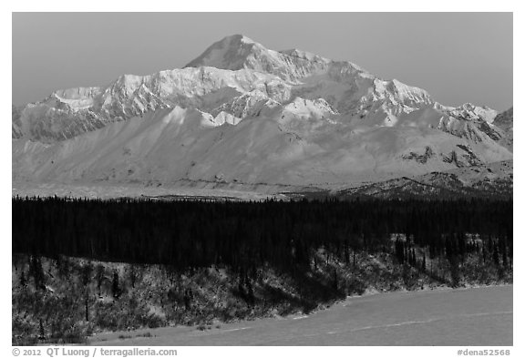First light on Denali in winter. Denali National Park (black and white)