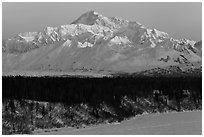 First light on Denali in winter. Denali National Park ( black and white)