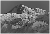 Mt McKinley, winter sunrise. Denali National Park ( black and white)