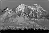 Mt Hunter, winter sunrise. Denali National Park ( black and white)