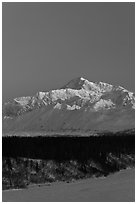 Mt McKinley under clear winter sky at sunrise. Denali National Park, Alaska, USA. (black and white)