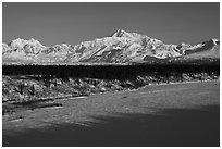 Alaska range in winter, early morning. Denali National Park ( black and white)