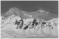 Mt McKinley rises above Alaska range in winter. Denali National Park ( black and white)