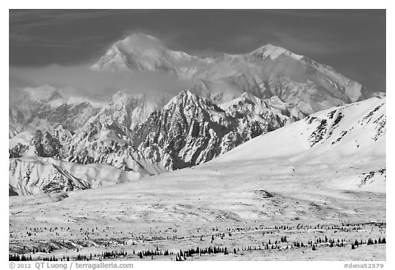 Mt McKinley South and North peaks in winter. Denali National Park (black and white)