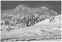 Mt McKinley South and North peaks in winter. Denali National Park, Alaska, USA. (black and white)