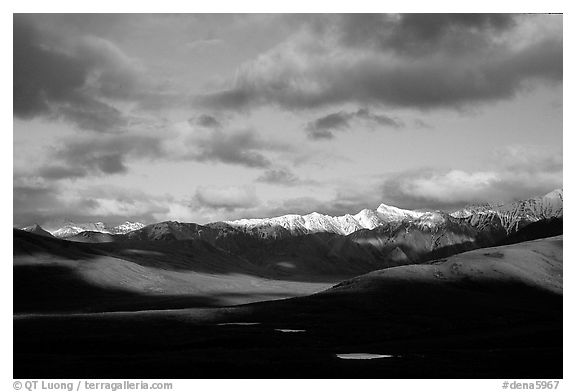 Alaska Range and clouds from Polychrome Pass, evening. Denali National Park (black and white)